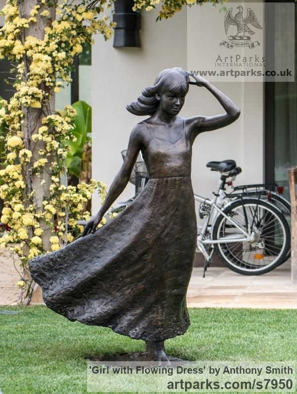 Bronze Garden Or Yard / Outside and Outdoor sculpture by sculptor Anthony Smith titled: 'Girl with Flowing Dress (life size Yard garden statue)'