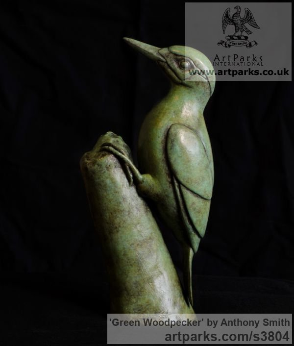 Bronze Wild Animals and Wild Life sculpture by sculptor Anthony Smith titled: 'Green Woodpecker (Yaffle and stump Bronze sculpturette)'