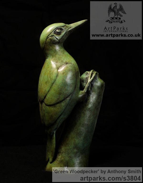 Bronze Wild Animals and Wild Life sculpture by sculptor Anthony Smith titled: 'Green Woodpecker (Yaffle and stump Bronze sculpturette)' - Artwork View 2