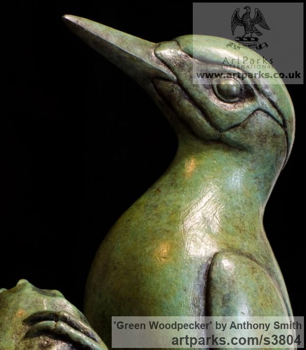 Bronze Wild Animals and Wild Life sculpture by sculptor Anthony Smith titled: 'Green Woodpecker (Yaffle and stump Bronze sculpturette)' - Artwork View 5