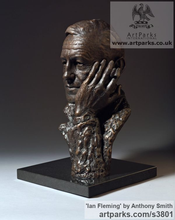 Bronze on marble base Portrait Sculptures / Commission or Bespoke or Customised sculpture by sculptor Anthony Smith titled: 'Ian Fleming (Commission Bronze Bust Head Face sculpture)'