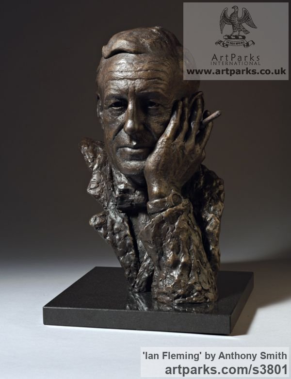 Bronze on marble base Portrait Sculptures / Commission or Bespoke or Customised sculpture by sculptor Anthony Smith titled: 'Ian Fleming (Commission Bronze Bust Head Face sculpture)' - Artwork View 2
