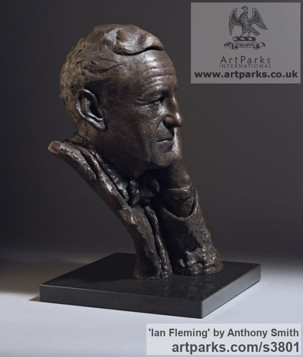 Bronze on marble base Portrait Sculptures / Commission or Bespoke or Customised sculpture by sculptor Anthony Smith titled: 'Ian Fleming (Commission Bronze Bust Head Face sculpture)' - Artwork View 3