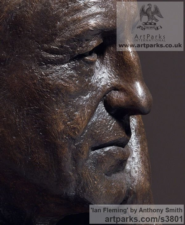 Bronze on marble base Portrait Sculptures / Commission or Bespoke or Customised sculpture by sculptor Anthony Smith titled: 'Ian Fleming (Commission Bronze Bust Head Face sculpture)' - Artwork View 4