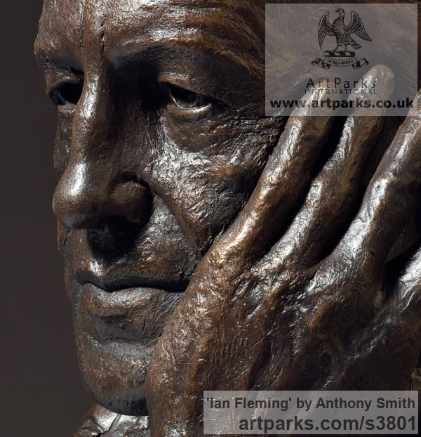 Bronze on marble base Portrait Sculptures / Commission or Bespoke or Customised sculpture by sculptor Anthony Smith titled: 'Ian Fleming (Commission Bronze Bust Head Face sculpture)' - Artwork View 5