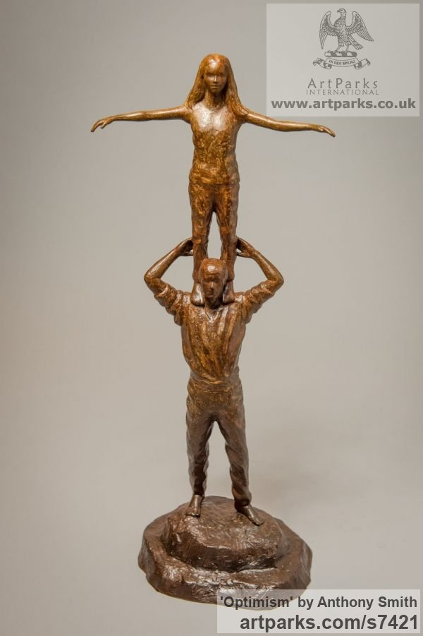 Bronze Parent - Child sculpture by sculptor Anthony Smith titled: 'Optimism (Father and Daughter Standing Balancing statuettes Figurine)'