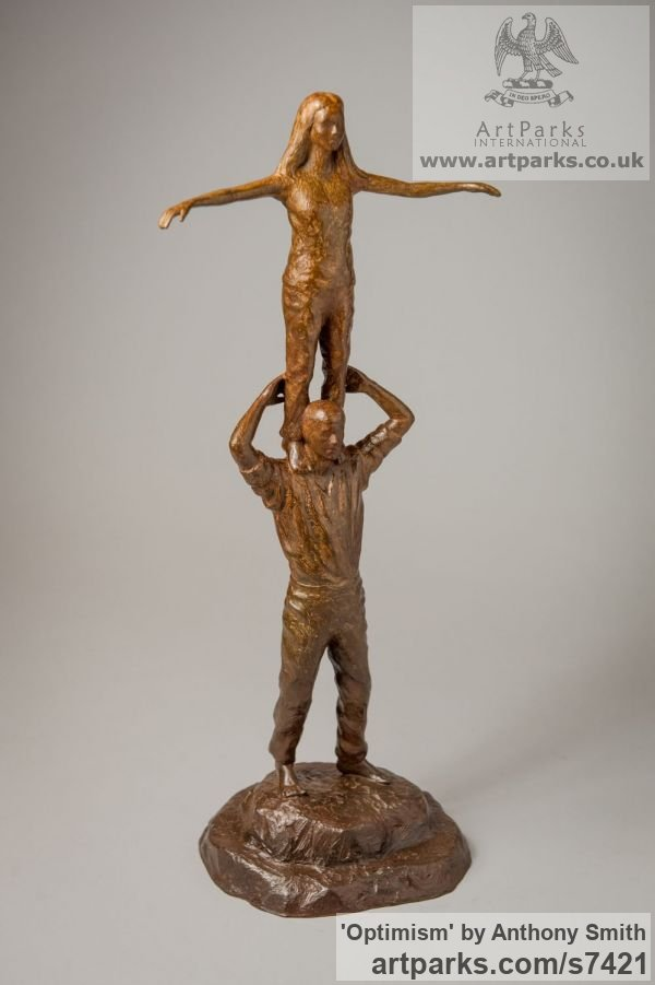 Bronze Parent - Child sculpture by sculptor Anthony Smith titled: 'Optimism (Father and Daughter Standing Balancing statuettes Figurine)' - Artwork View 2