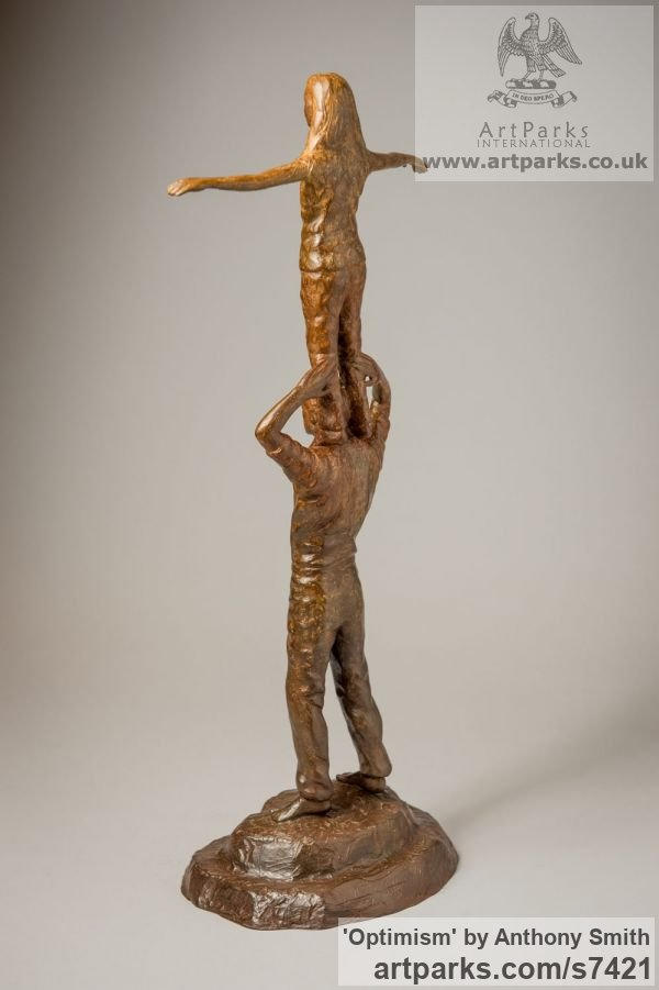 Bronze Parent - Child sculpture by sculptor Anthony Smith titled: 'Optimism (Father and Daughter Standing Balancing statuettes Figurine)' - Artwork View 3