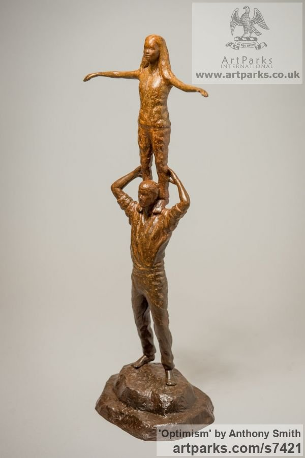 Bronze Parent - Child sculpture by sculptor Anthony Smith titled: 'Optimism (Father and Daughter Standing Balancing statuettes Figurine)' - Artwork View 4