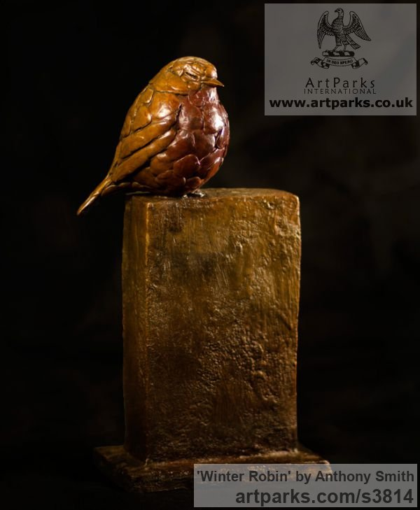 Bronze Varietal Mix of Bird Sculptures or sculpture by sculptor Anthony Smith titled: 'Winter Robin (Bronze life size fluffed up Robin Bird sculpture)' - Artwork View 1