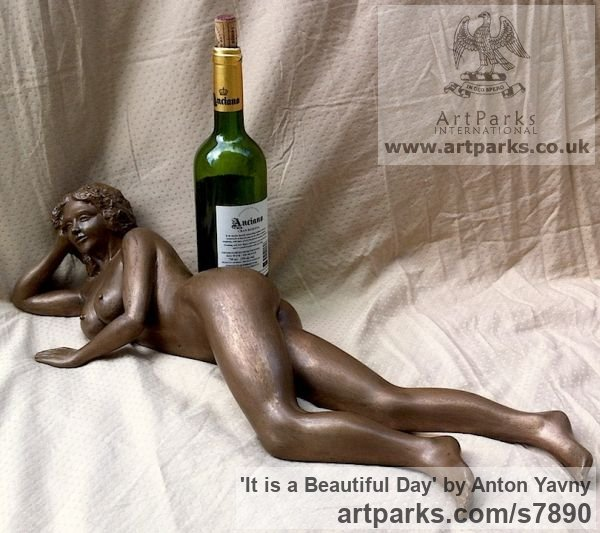 Bronze resin Portrait Sculptures / Commission or Bespoke or Customised sculpture by sculptor Anton Yavny titled: 'It is a beautiful day (Reclining nude Woman female statuette statue)' - Artwork View 1