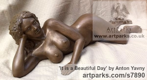 Bronze resin Portrait Sculptures / Commission or Bespoke or Customised sculpture by sculptor Anton Yavny titled: 'It is a beautiful day (Reclining nude Woman female statuette statue)' - Artwork View 2
