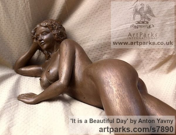Bronze resin Portrait Sculptures / Commission or Bespoke or Customised sculpture by sculptor Anton Yavny titled: 'It is a beautiful day (Reclining nude Woman female statuette statue)' - Artwork View 3