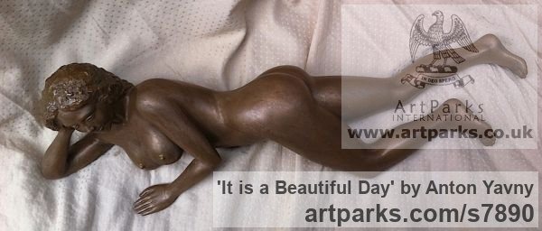 Bronze resin Portrait Sculptures / Commission or Bespoke or Customised sculpture by sculptor Anton Yavny titled: 'It is a beautiful day (Reclining nude Woman female statuette statue)' - Artwork View 5