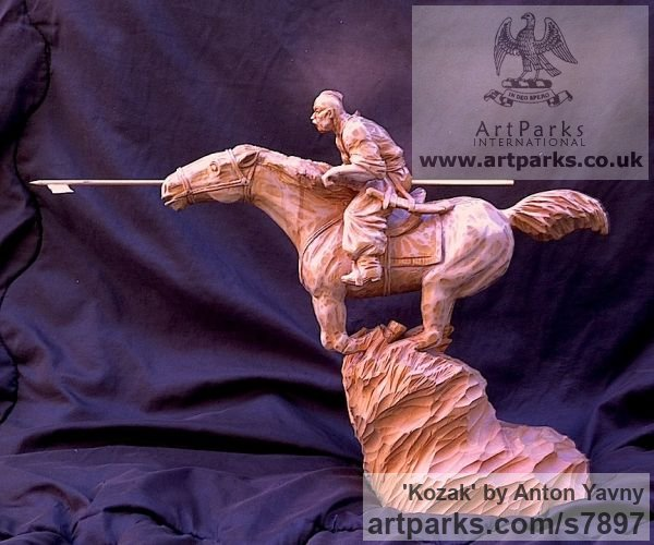 Wood Carving Horses Small, for Indoors and Inside Display sculpturettes Sculptures figurines commissions commemoratives sculpture by sculptor Anton Yavny titled: 'Kozak (Carved Wood Charging Cossack Lancer statuette statue carving)' - Artwork View 3