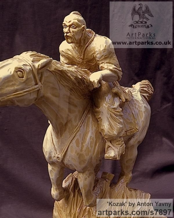 Wood Carving Horses Small, for Indoors and Inside Display sculpturettes Sculptures figurines commissions commemoratives sculpture by sculptor Anton Yavny titled: 'Kozak (Carved Wood Charging Cossack Lancer statuette statue carving)' - Artwork View 5