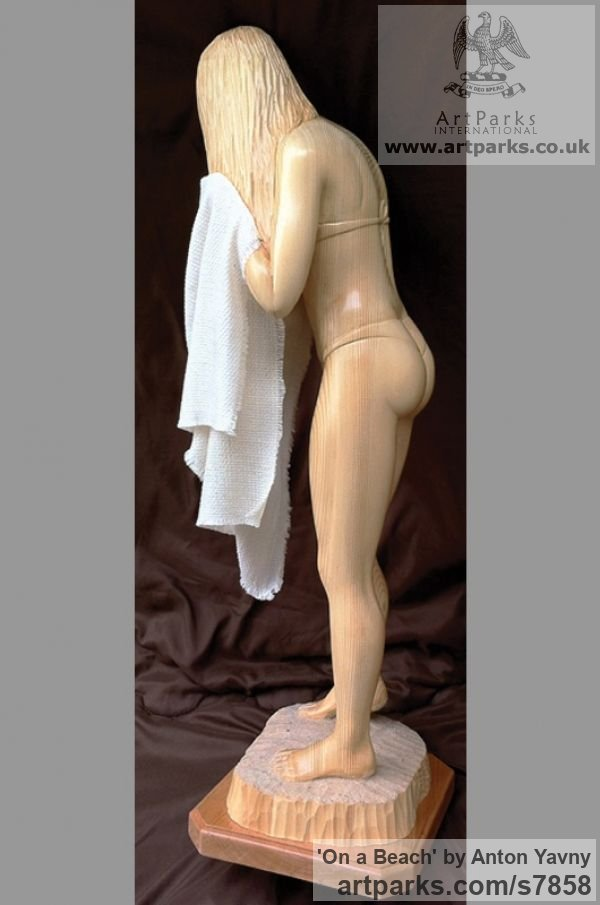 Spruce wood and fabric Females Women Girls Ladies sculpture statuettes figurines sculpture by sculptor Anton Yavny titled: 'On a beach (Carved Wood nude Naked Girl Young Woman and Towel Carving)' - Artwork View 2
