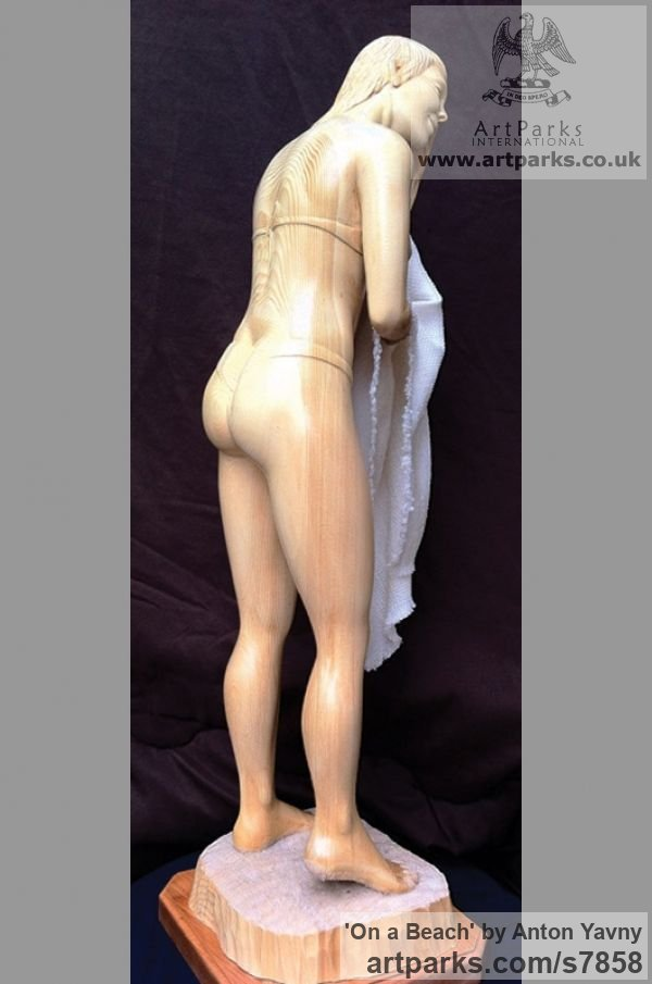 Spruce wood and fabric Females Women Girls Ladies sculpture statuettes figurines sculpture by sculptor Anton Yavny titled: 'On a beach (Carved Wood nude Naked Girl Young Woman and Towel Carving)' - Artwork View 3