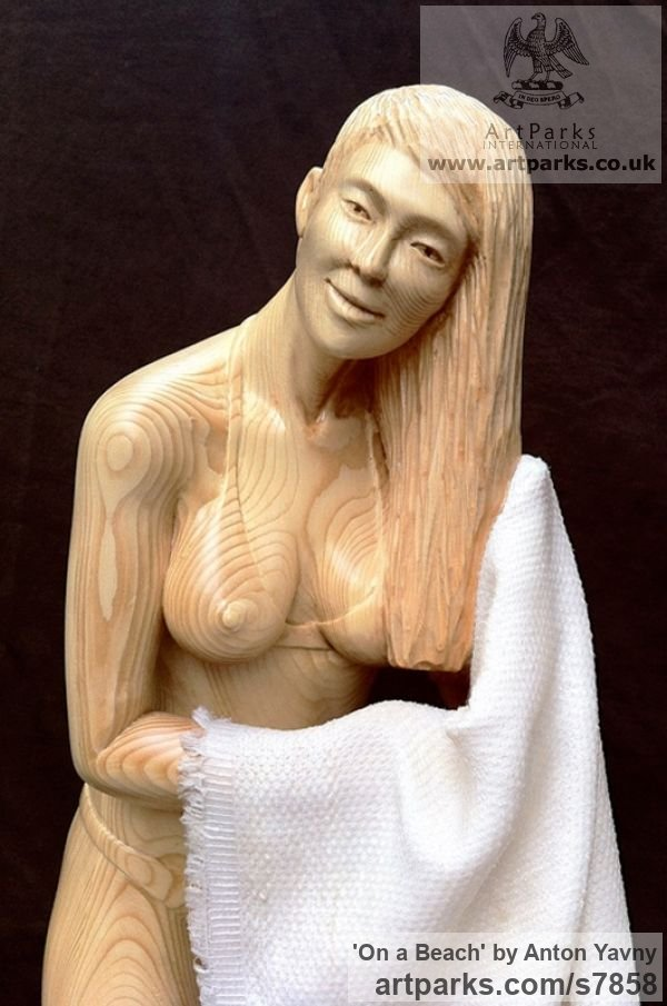 Spruce wood and fabric Females Women Girls Ladies sculpture statuettes figurines sculpture by sculptor Anton Yavny titled: 'On a beach (Carved Wood nude Naked Girl Young Woman and Towel Carving)' - Artwork View 5