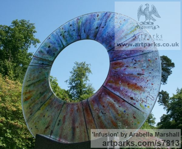 Fused Glass Abstract Contemporary Modern Outdoor Outside Garden / Yard sculpture statuary sculpture by sculptor Arabella Marshall titled: 'Infusion (Glass Circular garden Focal Point statue)' - Artwork View 3