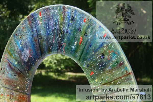 Fused Glass Abstract Contemporary Modern Outdoor Outside Garden / Yard sculpture statuary sculpture by sculptor Arabella Marshall titled: 'Infusion (Glass Circular garden Focal Point statue)' - Artwork View 4