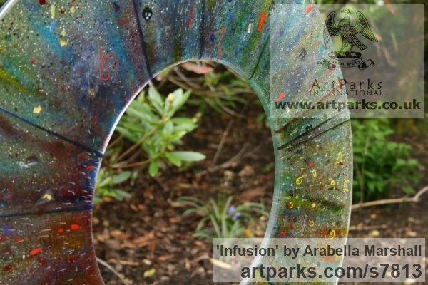 Fused Glass Abstract Contemporary Modern Outdoor Outside Garden / Yard sculpture statuary sculpture by sculptor Arabella Marshall titled: 'Infusion (Glass Circular garden Focal Point statue)' - Artwork View 5