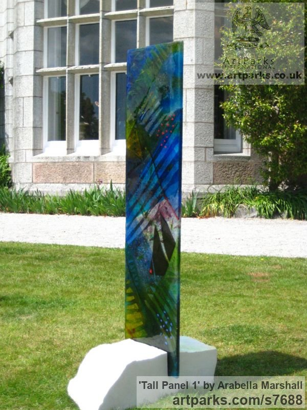 Fused glass Garden Or Yard / Outside and Outdoor sculpture by sculptor Arabella Marshall titled: 'Tall panel 1 (Fused Coloured Glass garden statue)'