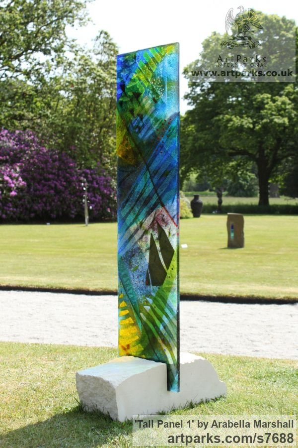 Fused glass Garden Or Yard / Outside and Outdoor sculpture by sculptor Arabella Marshall titled: 'Tall panel 1 (Fused Coloured Glass garden statue)' - Artwork View 4
