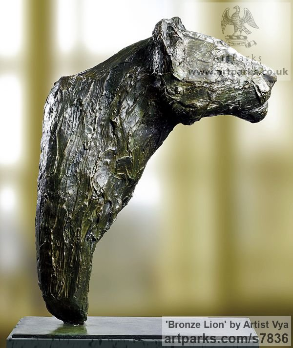 High quality foundry bronze Cats sculpture by sculptor Artist Vya titled: 'Bronze Lion (Bronze Lion sculpturette)' - Artwork View 2