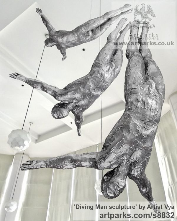 Silicon Bronze Sport sculpture by sculptor Artist Vya titled: 'Diving Man sculpture (Bronze Diver Sport statuette)'