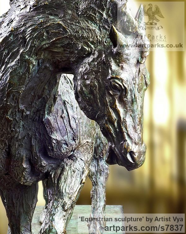 High Quality Foundry Bronze Horse Sculpture / Equines Race Horses Pack HorseCart Horses Plough Horsess sculpture by sculptor Artist Vya titled: 'Equestrian sculpture (Bronze Trotting Horse)'