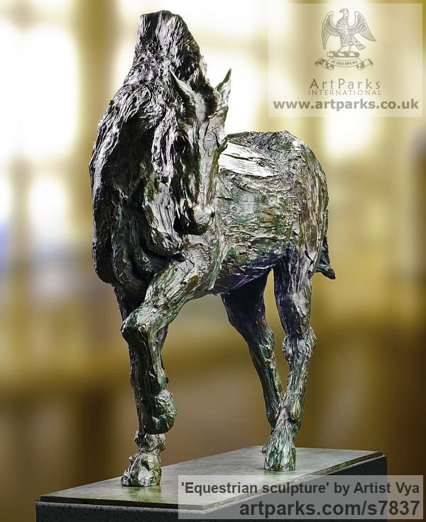 High Quality Foundry Bronze Horse Sculpture / Equines Race Horses Pack HorseCart Horses Plough Horsess sculpture by sculptor Artist Vya titled: 'Equestrian sculpture (Bronze Trotting Horse)' - Artwork View 3