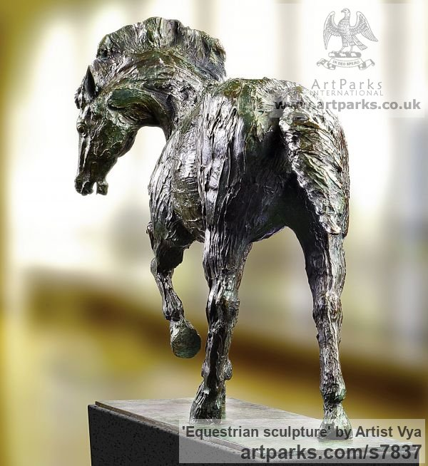 High Quality Foundry Bronze Horse Sculpture / Equines Race Horses Pack HorseCart Horses Plough Horsess sculpture by sculptor Artist Vya titled: 'Equestrian sculpture (Bronze Trotting Horse)' - Artwork View 5