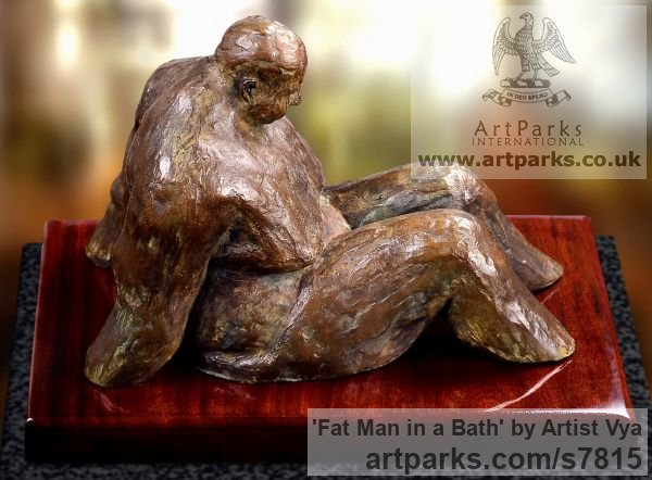 High quality foundry bronze Male Men Youths Masculine sculpturettes figurines sculpture by sculptor Artist Vya titled: 'Fat Man in a bath (sculpturette Bronze sculpture Bronze)'