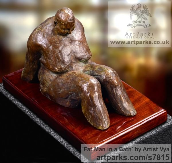 High quality foundry bronze Male Men Youths Masculine sculpturettes figurines sculpture by sculptor Artist Vya titled: 'Fat Man in a bath (sculpturette Bronze sculpture Bronze)' - Artwork View 2