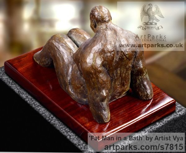 High quality foundry bronze Male Men Youths Masculine sculpturettes figurines sculpture by sculptor Artist Vya titled: 'Fat Man in a bath (sculpturette Bronze sculpture Bronze)' - Artwork View 4