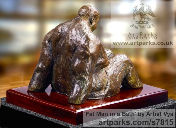 High quality foundry bronze Male Men Youths Masculine sculpturettes figurines sculpture by sculptor Artist Vya titled: 'Fat Man in a bath (sculpturette Bronze sculpture Bronze)' - Artwork View 5
