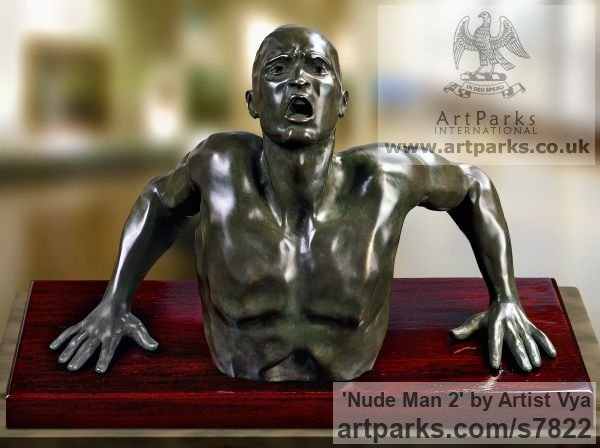 High Quality Foundry Bronze Anger Frustration Rage Fury sculpture sculpture by sculptor Artist Vya titled: 'nude Man 2 (sculpture Bronze sculpturette figurine)' - Artwork View 3