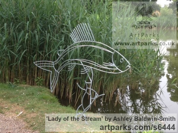 Steel rods and found obects Garden Or Yard / Outside and Outdoor sculpture by sculptor Ashley Baldwin-Smith titled: 'Lady of the Stream (Steel Rod Large Grayling Fish sculpture/statue)' - Artwork View 2