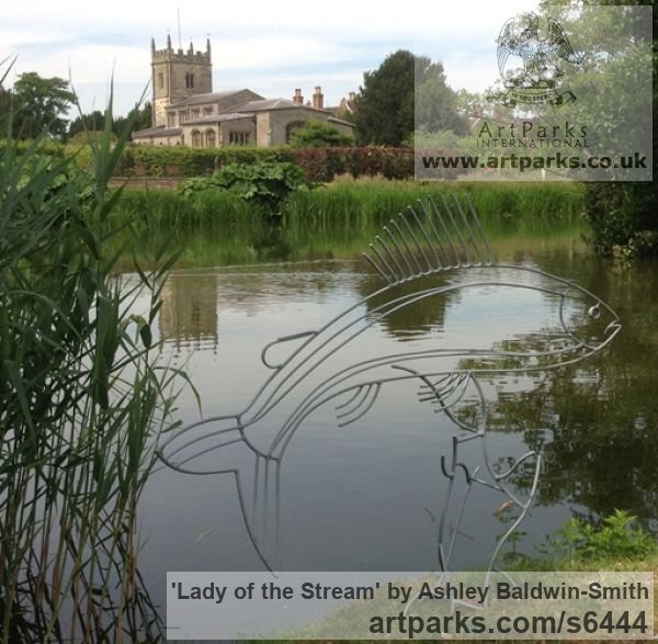 Steel rods and found obects Garden Or Yard / Outside and Outdoor sculpture by sculptor Ashley Baldwin-Smith titled: 'Lady of the Stream (Steel Rod Large Grayling Fish sculpture/statue)' - Artwork View 3