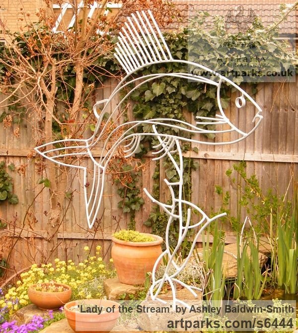 Steel rods and found obects Garden Or Yard / Outside and Outdoor sculpture by sculptor Ashley Baldwin-Smith titled: 'Lady of the Stream (Steel Rod Large Grayling Fish sculpture/statue)' - Artwork View 4