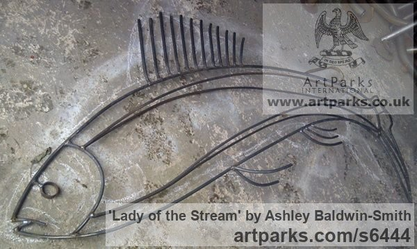 Steel rods and found obects Garden Or Yard / Outside and Outdoor sculpture by sculptor Ashley Baldwin-Smith titled: 'Lady of the Stream (Steel Rod Large Grayling Fish sculpture/statue)' - Artwork View 5