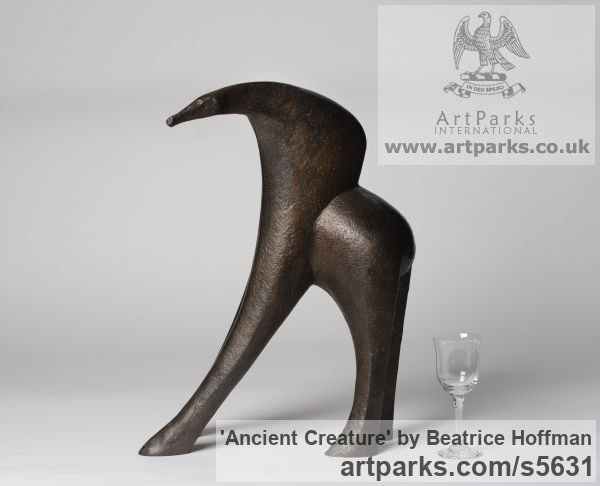 Bronze Resin Abstract Contemporary Modern Outdoor Outside Garden / Yard sculpture statuary sculpture by sculptor Beatrice Hoffman titled: 'Ancient Creature [4306]'