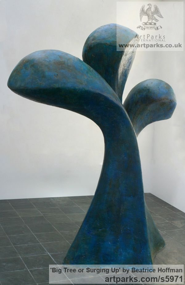 Plaster on polystyrene Garden Or Yard / Outside and Outdoor sculpture by sculptor Beatrice Hoffman titled: 'Big Tree or Surging Up (Large abstract Floral garden sculptures)' - Artwork View 1