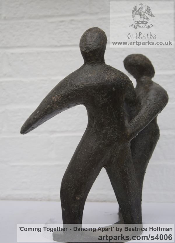 Bronze resin Wedding Anniversary Gift or Present sculpture statuettes sculpture by sculptor Beatrice Hoffman titled: 'Coming Together - Dancing Apart (abstract Couple Danjcingt statue)' - Artwork View 2