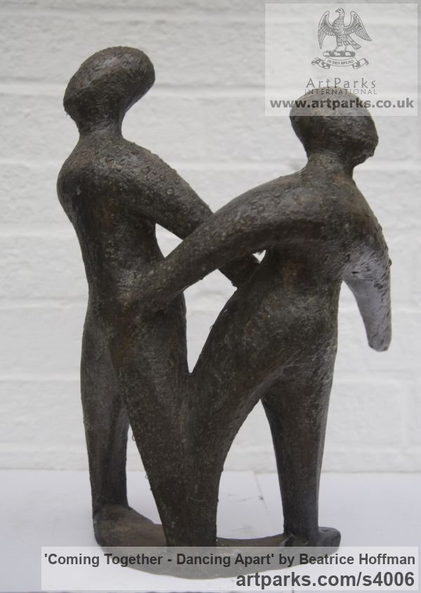 Bronze resin Wedding Anniversary Gift or Present sculpture statuettes sculpture by sculptor Beatrice Hoffman titled: 'Coming Together - Dancing Apart (abstract Couple Danjcingt statue)' - Artwork View 3