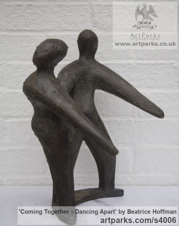 Bronze resin Wedding Anniversary Gift or Present sculpture statuettes sculpture by sculptor Beatrice Hoffman titled: 'Coming Together - Dancing Apart (abstract Couple Danjcingt statue)' - Artwork View 4