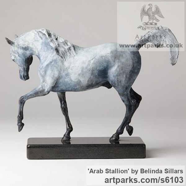 Bronze Horse Sculpture / Equines Race Horses Pack HorseCart Horses Plough Horsess sculpture by sculptor Belinda Sillars titled: 'Arab Stallion (Bronze Small Grey Horse Pawing statuettes statues)'