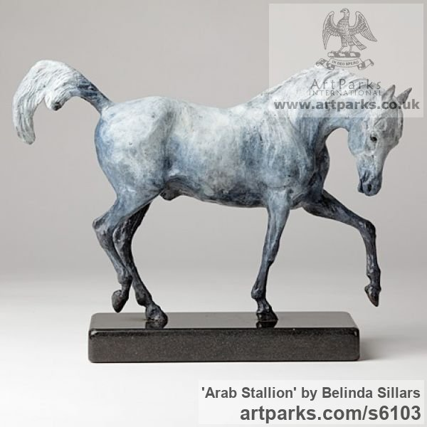 Bronze Horse Sculpture / Equines Race Horses Pack HorseCart Horses Plough Horsess sculpture by sculptor Belinda Sillars titled: 'Arab Stallion (Bronze Small Grey Horse Pawing statuettes statues)' - Artwork View 2