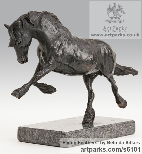 Bronze Horse Sculpture / Equines Race Horses Pack HorseCart Horses Plough Horsess sculpture by sculptor Belinda Sillars titled: 'Flying Feathers (Small/Little Galloping bronze Horse statue/sculpture)'